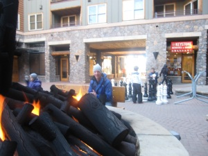 Welcome flames after a busy day of snowboarding.